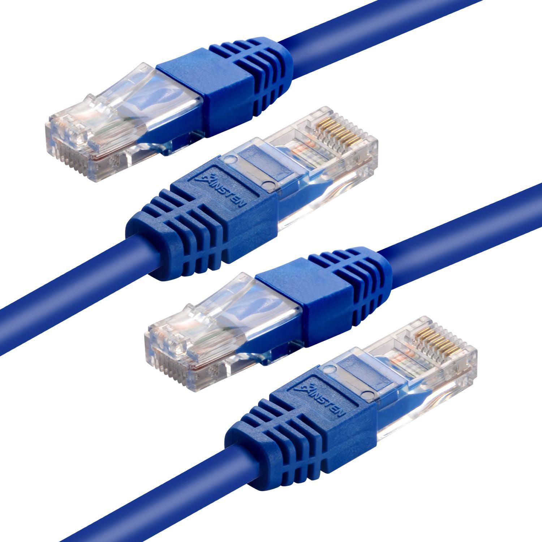 Insten 2 Pack Blue 50' RJ45 Cat-5e Cat5e LAN Ethernet Cable 50ft 15M