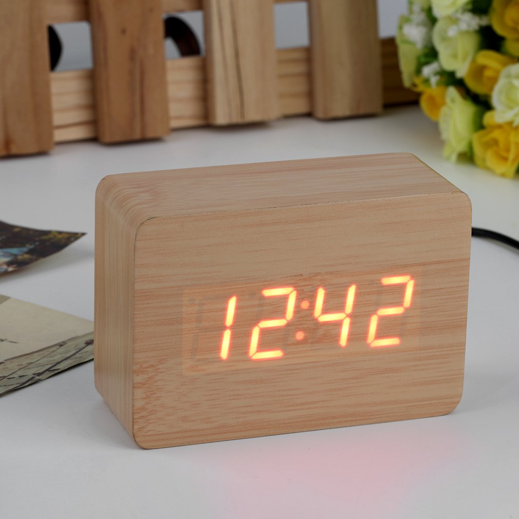 Mini Modern Red LED Display Temperature Digital Wood Wooden Alarm Clock