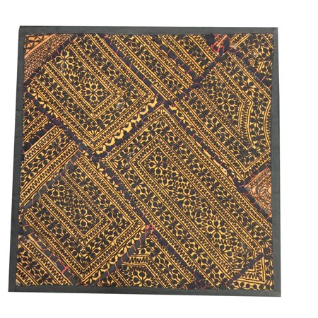 Mogul Vintage Embroidered Brown Wall Hanging Patchwork Sari Tapestry Cushion Cover -