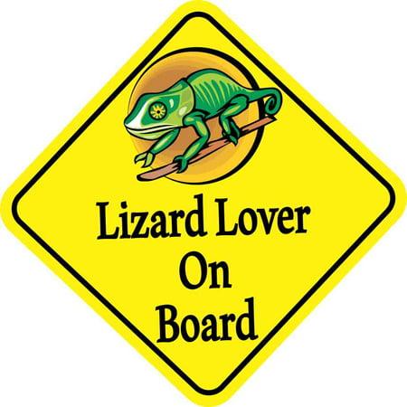 Lizard Board (6in x 6in Lizard Lover On Board Bumper Sticker Vinyl Vehicle Window)