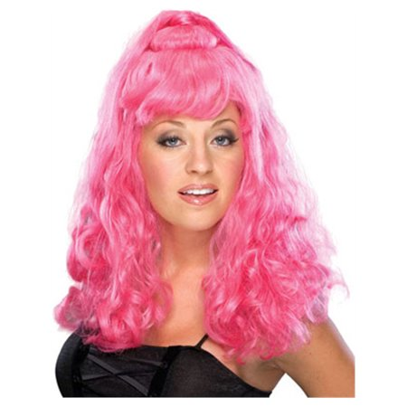 Adult Womens Hot Pink Long Curly Costume Wig