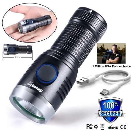 Mini Pocket USB Rechargeable XPE Tactical Military LED Flashlight Torch Lamp