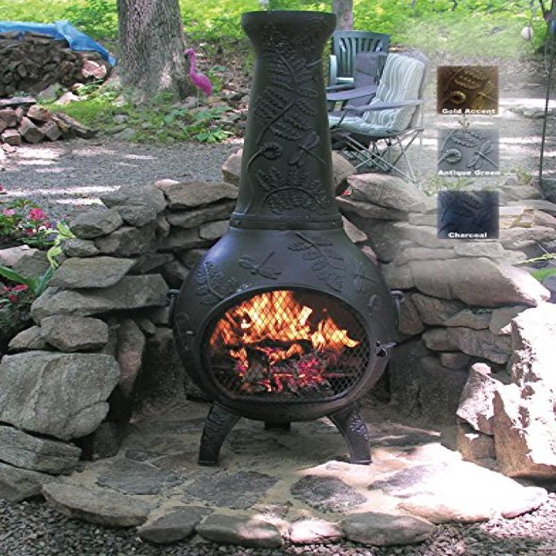 The Blue Rooster Co. Dragonfly Style Cast Aluminum Wood Burning Chiminea in Charcoal. by