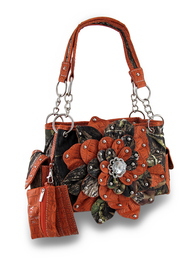 Mossy Oak Camo Concealed Carry Purse with Flower and Mock Crock Trim ...