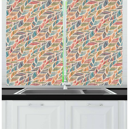 Boho Curtains 2 Panels Set, Abstract Feather Wave Pattern with Retro Look and Artistic Colorful Short Lines Curves, Window Drapes for Living Room Bedroom, 55W X 39L Inches, Multicolor, by Ambesonne