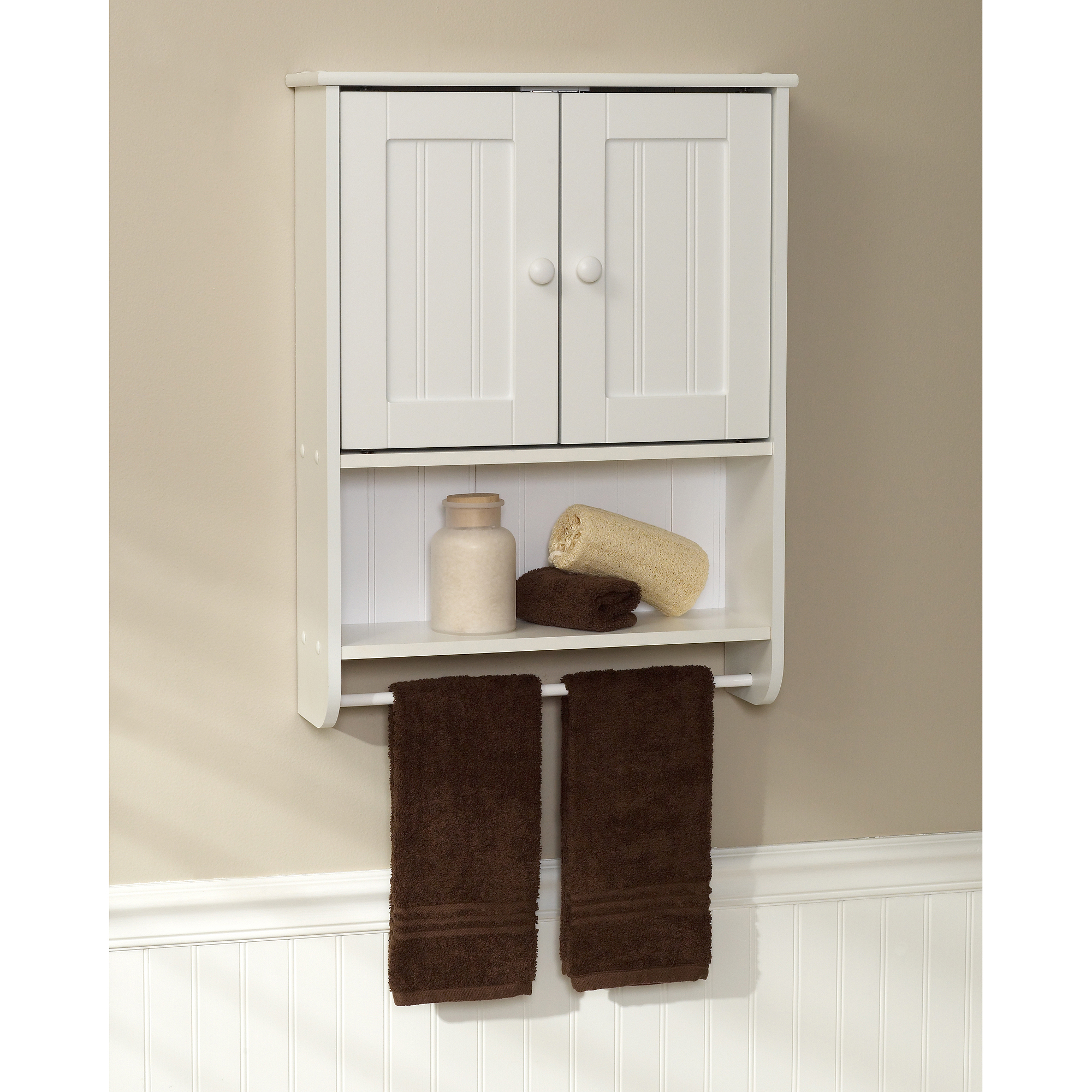 Small bathroom wall cabinet with towel bar for Small bath cabinet