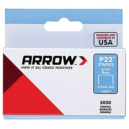 "ARROW P22 Staples, #225 5/16"" (8mm), 5000 per box"