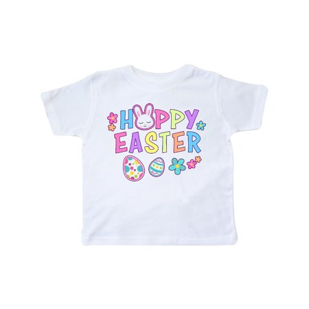 Bunny Faces - Happy Easter with Bunny Face and Easter Eggs Toddler T-Shirt