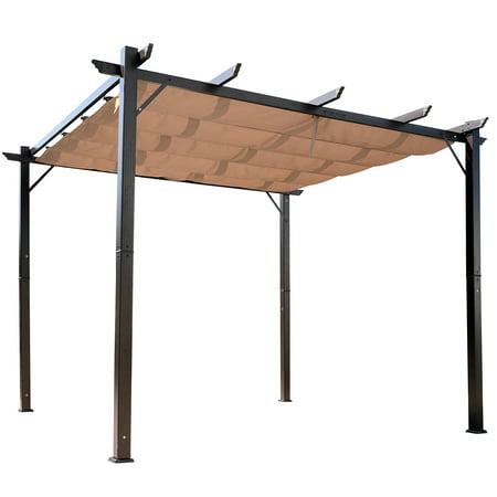 Outsunny 10' x 10' Aluminium Outsunny 10' x 10' Steel Outdoor Pergola Gazebo Backyard Canopy Cover Outsunny 10' x 10' Steel Outdoor Pergola Gazebo Backyard Canopy Cover Sturdy Garden - Brown