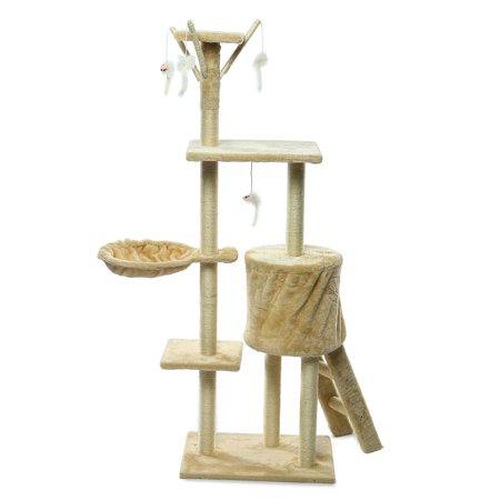 """55"""" Large Cat Tree Scratcher Cat Climbing Scratching Tower Post Condo Furniture Soft Pet Play House With Hanging Toys Pet Sleeping House 2 colors - image 3 of 7"""