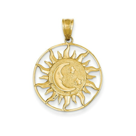 14k Yellow Gold Sun Moon Star Pendant Charm Necklace Celestial For - Sun And Moon Friendship Necklace