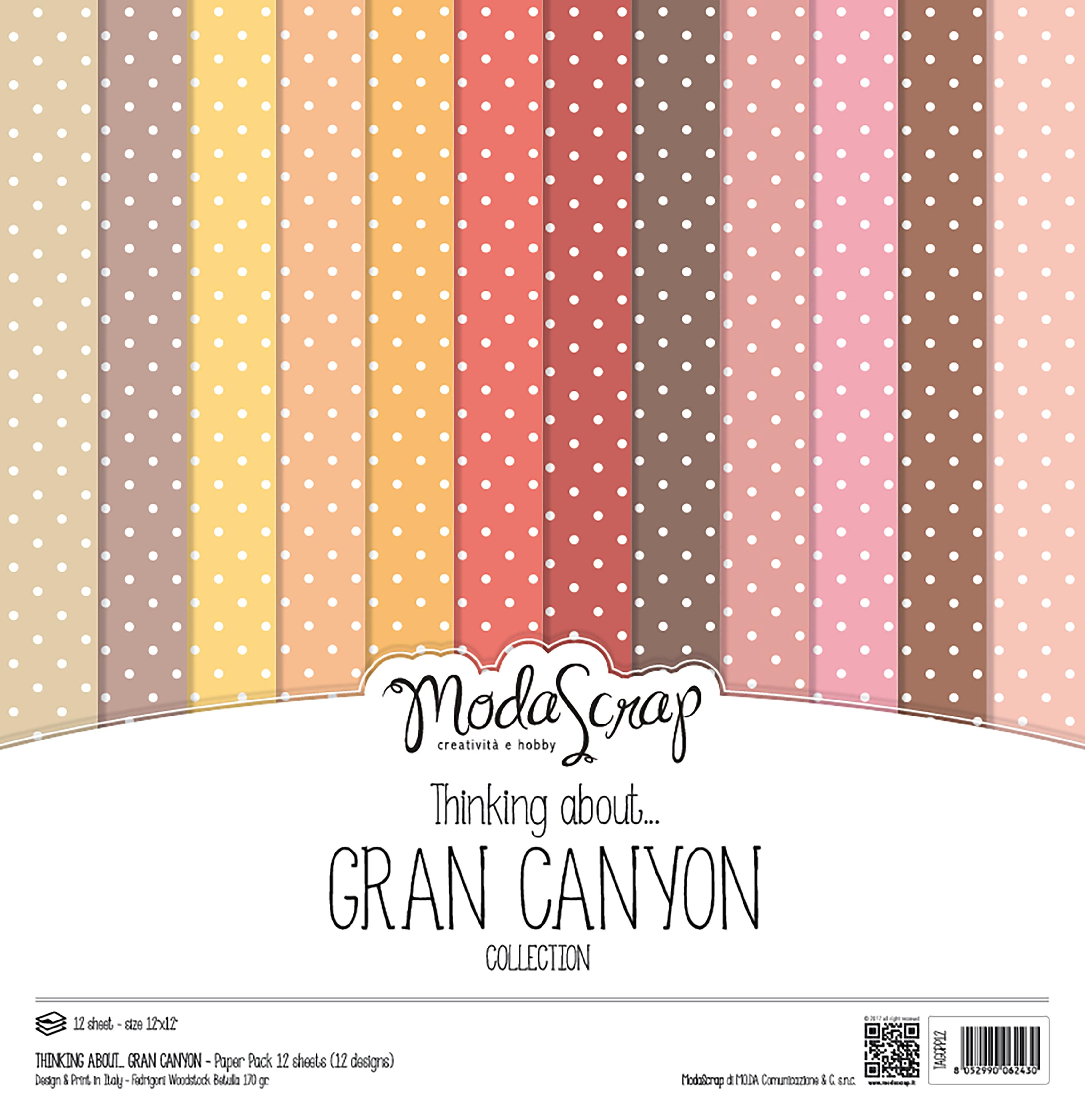"Elizabeth Craft ModaScrap Paper Pack 12""X12"" 12/Pkg-Thinking About Grand Canyon"