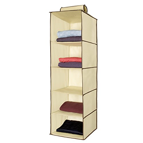 Ziz Home Hanging Clothes Storage Box (5 Shelving Units) Durable Accessory Shelves Eco-... by