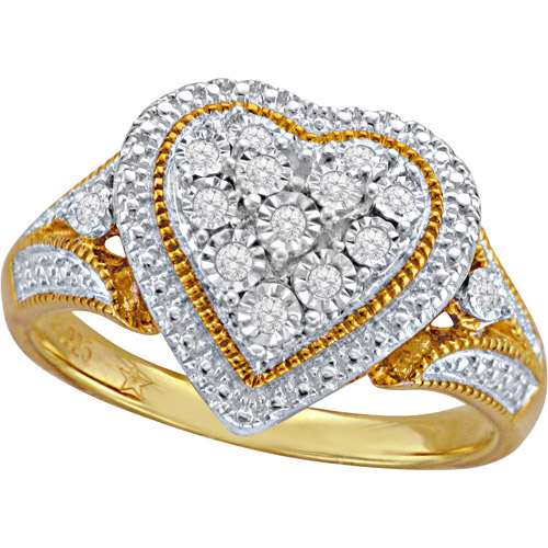 Diamond-Accent 10kt Yellow Gold over Sterling Silver Heart Ring