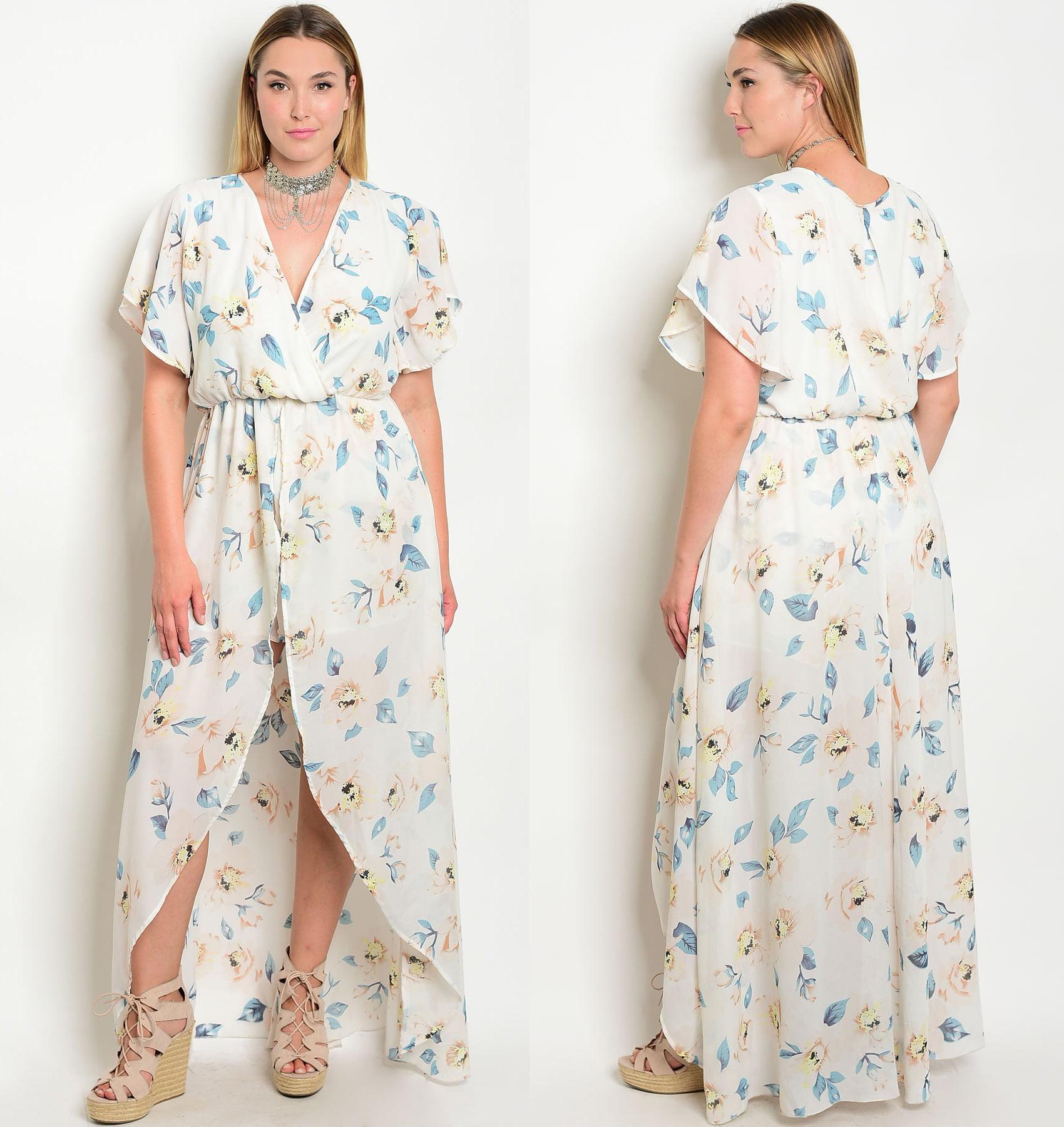 18272aacdbe Floral Romper Maxi Dress Plus Size