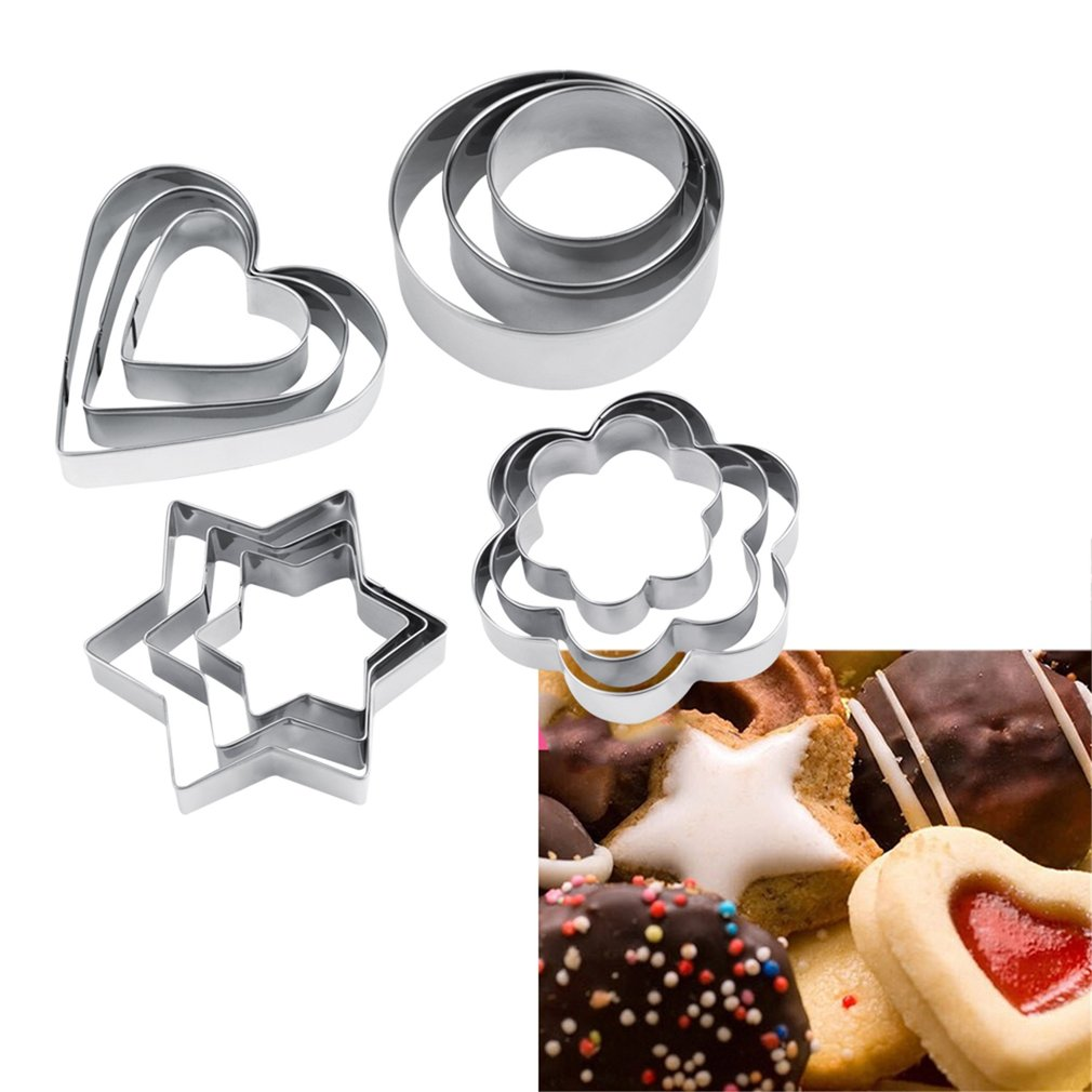12pcs Stainless Steel Cookie Biscuit DIY Mold Star Heart Cutter Baking Mould by