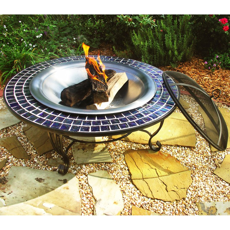 40-Inch Round Glass Mosaic Fire Table with FREE Cover