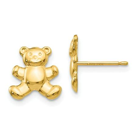 Solid 14k Yellow Gold Teddy Bear Post Earrings (10mm x 11mm)