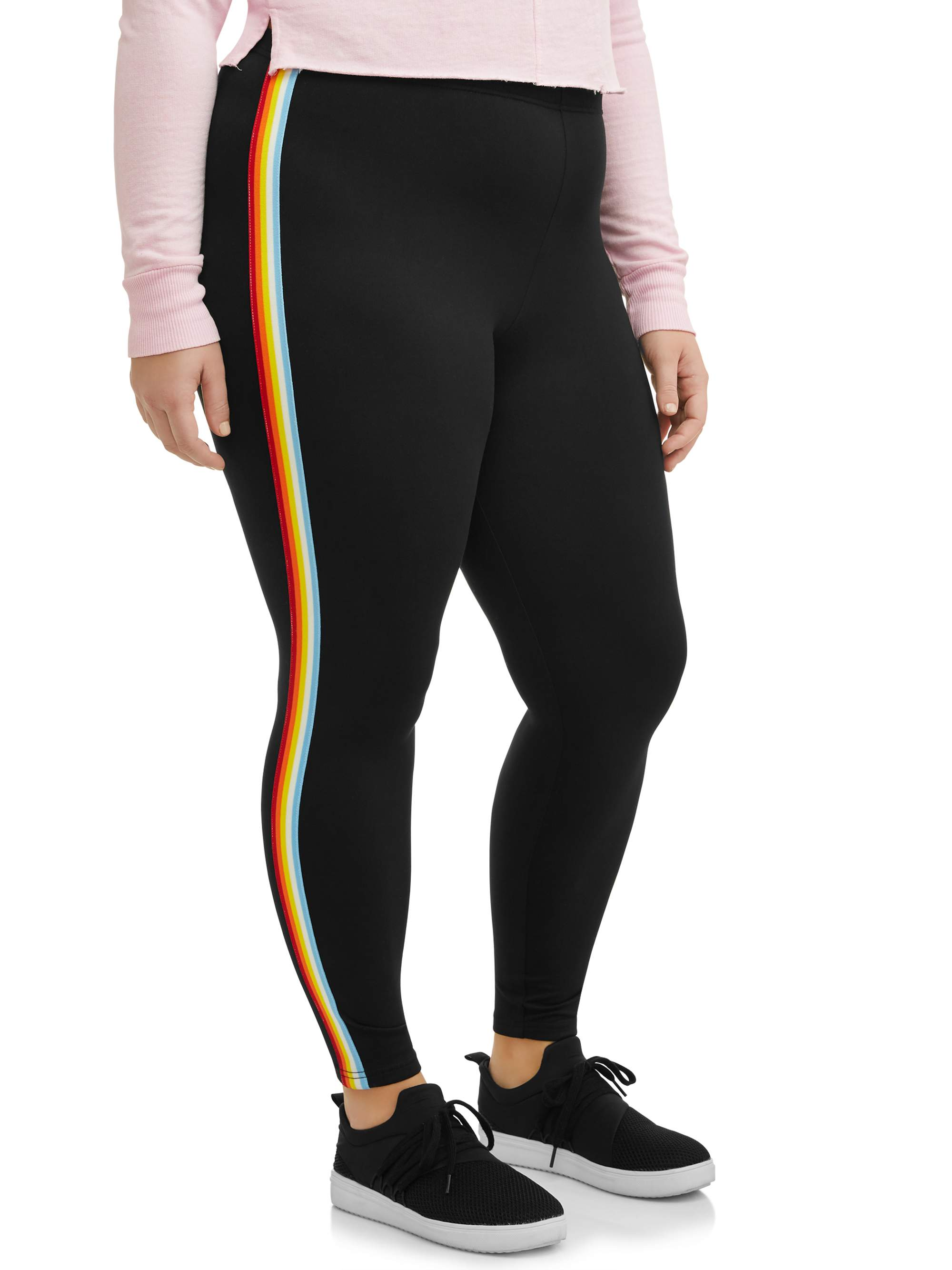 Juniors' Plus Size Super Soft Leggings with Rainbow Side Stripes