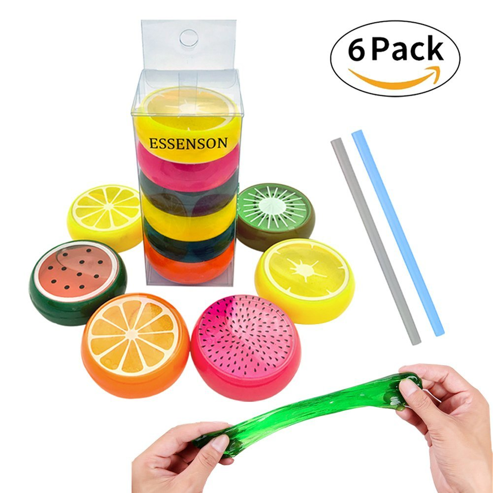 Fun Magical Crystal Slime Putty Toy Soft Rubber Fruit Slime for Kids, Students, Birthday, Party, Party Goodies, Party Favors, Fun, Colorful, Slimy, Gooey, Putty for Children- 6 Pack with 2 Straws