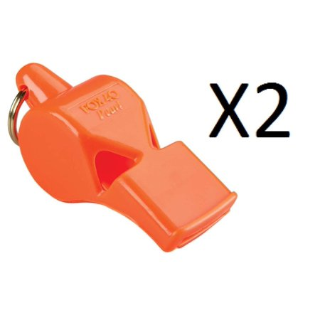 Pearl Sports and Safety Loud Marine Whistle, Orange (2 Pack), 90 Decibel Unique Pitch Will Be Heard Above Ambient Noise, Loud Crowds, The Roar Of Engines,.., By Fox - Ambient Pack