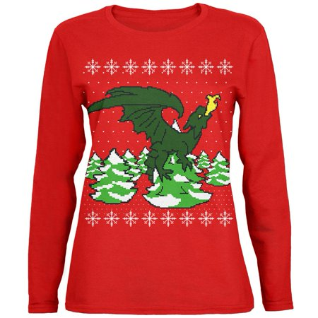 Ugly Christmas Sweater Dragon Winter Womens Long Sleeve T Shirt - Woman Ugly Christmas Sweater