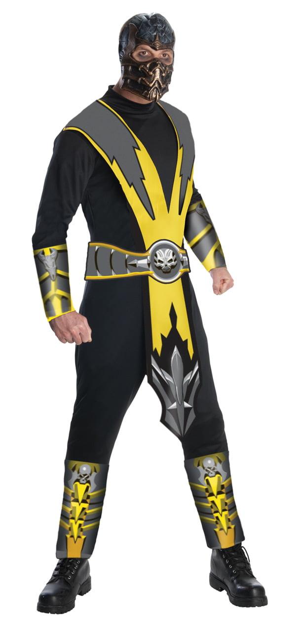 Mens Mortal Kombat Scorpion Ninja Samurai Halloween Fancy Dress Outfit