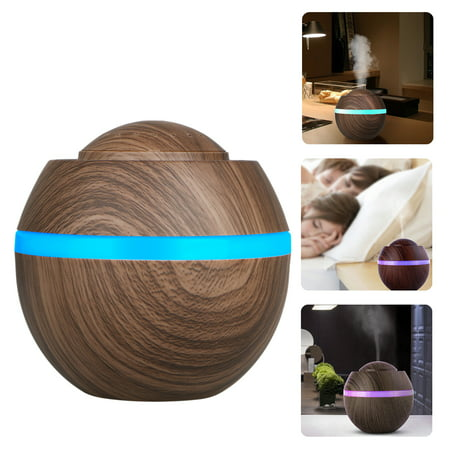500ml Cool Mist Humidifier, Wood Grain Portable Ultrasonic Aromatherapy Diffuser Cool Mist Humidifier with 7 Color LED Lights for Office Home Room Study Yoga (Best Ultrasonic Aromatherapy Diffuser)