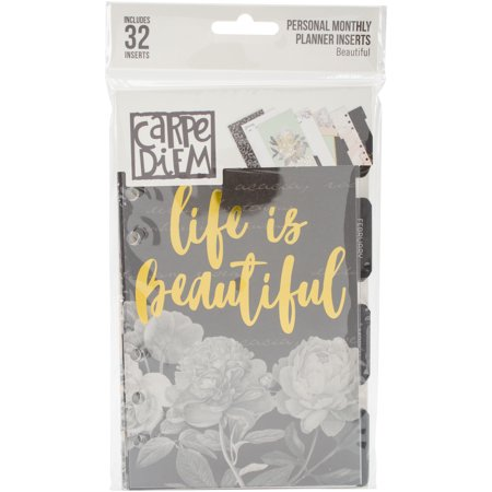 Carpe Diem Beautiful Double-Sided Personal Planner Inserts-Monthly, Undated