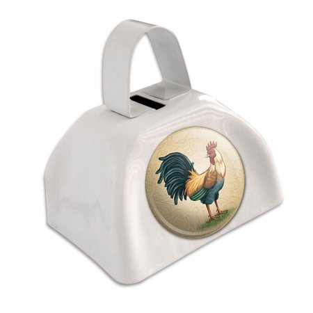 Vintage Rooster on Floral Background White Cowbell Cow Bell](Personalized Cowbells)