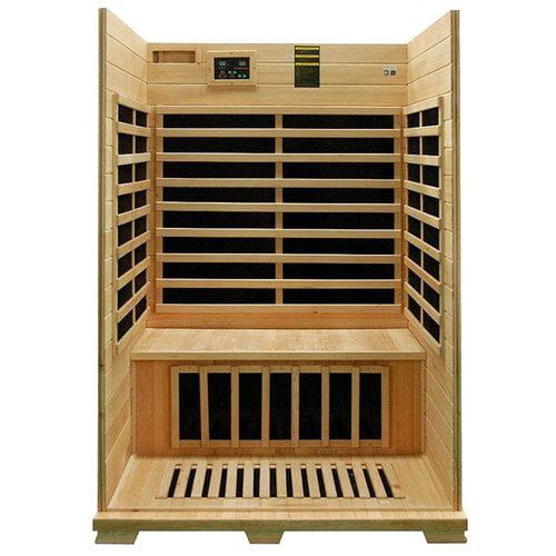 Aleko Canadian Hemlock Wood Indoor Dry 2 Person Carbon FAR Infrared Sauna by