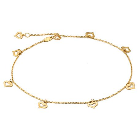 "LOVEBLING 10K Yellow Gold .50mm Diamond Cut Rolo Chain with 8 Heart pendants Anklet Adjustable 9"" to 10"" (#12)"