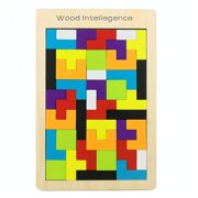 AkoaDa Wooden Tetris Puzzle Colorful Tangram Brain Block Intelligence Puzzle Toy Tangram Jigsaw for Preschool Children Playing