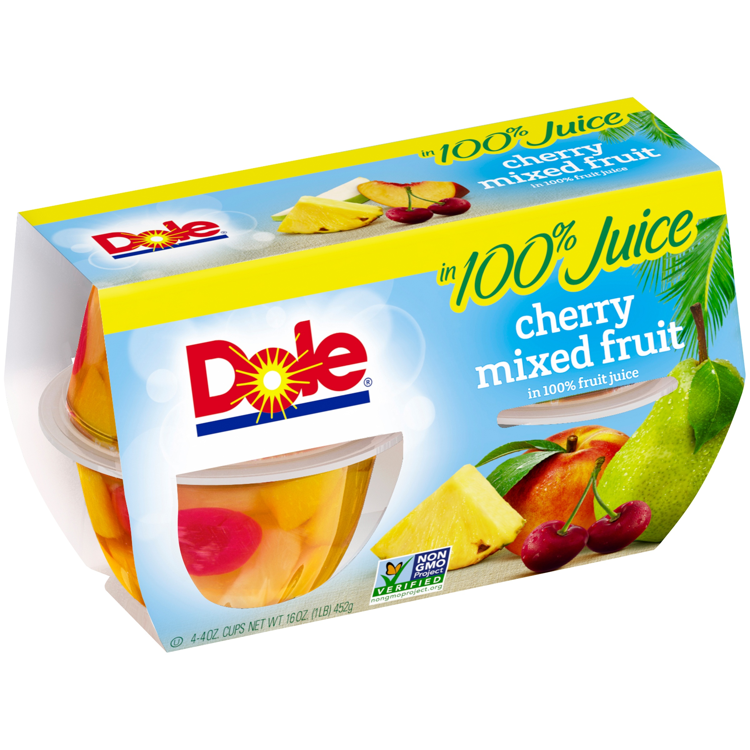 Dole Cherry Mixed Fruit in 100% Fruit Juice, 4-4 oz. Cups by Dole Packaged Foods, LLC