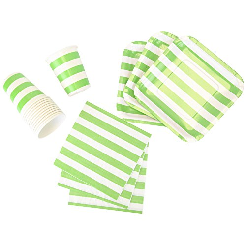 Just Artifacts Disposable Party Tableware 44pcs Striped Pattern Dining Set (Square Plates, Cups, Napkins) - Color: Green Apple - Decorative Tableware for Parties, Baby Showers, and Life Celebrations!