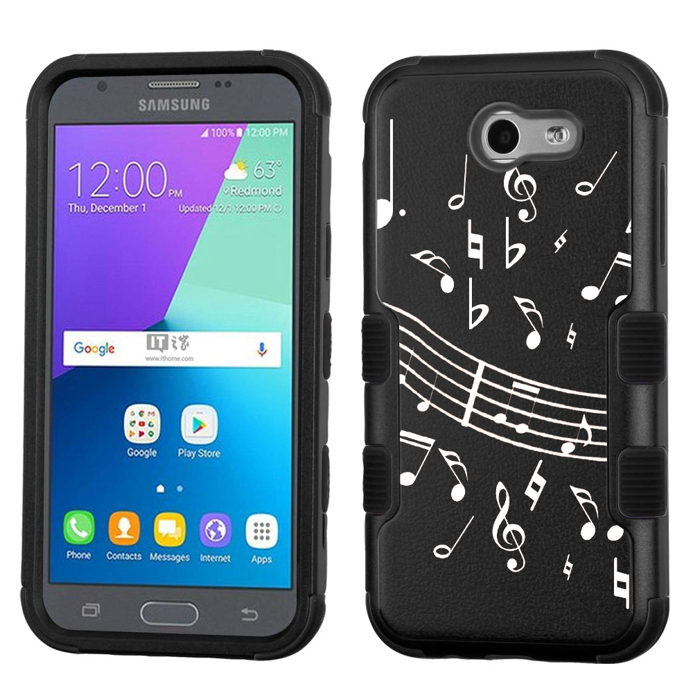 Hybrid Case for Samsung Galaxy J3 Luna Pro 4G LTE / J3 Eclipse, OneToughShield ® 3-Layer Phone Case (Black/Black) - Music Note / Black