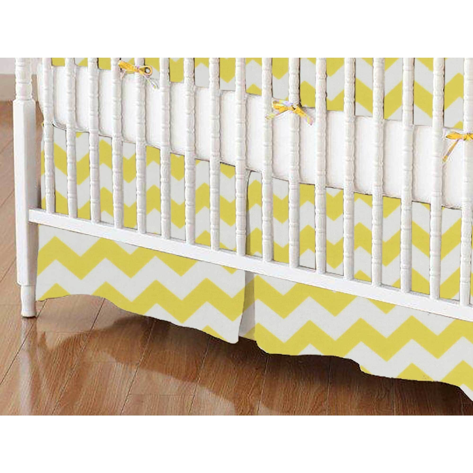 SheetWorld Crib Skirt - Yellow Chevron Zigzag