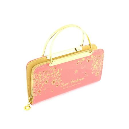 Faux Leather Zip Up Floral Letters Print Handbag Purse Evening Clutch Bag -