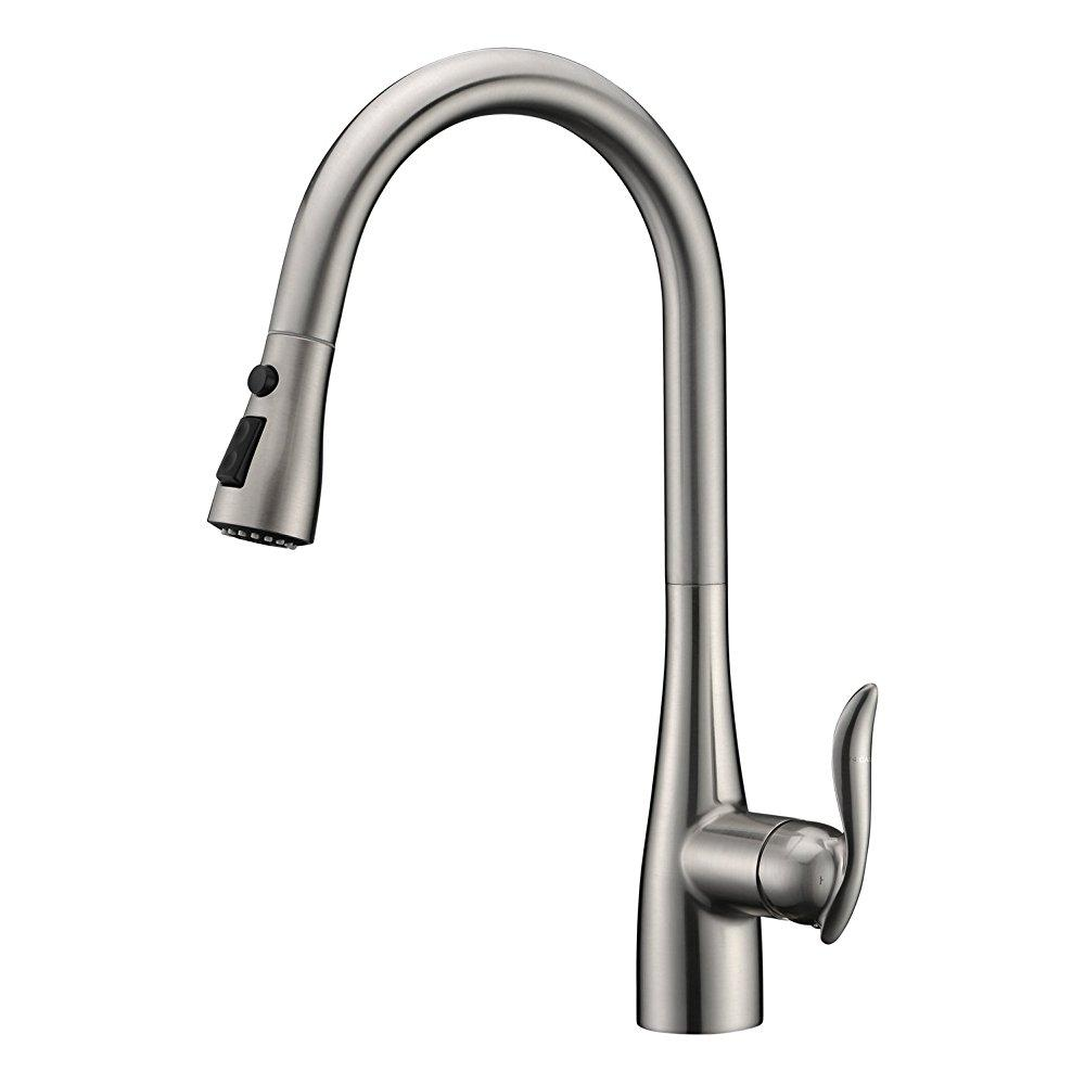 ... Gicasa Faucet Best Modern Stainless Steel Single Handle Pull Down  Kitchen Faucet, Pull Out Sprayer