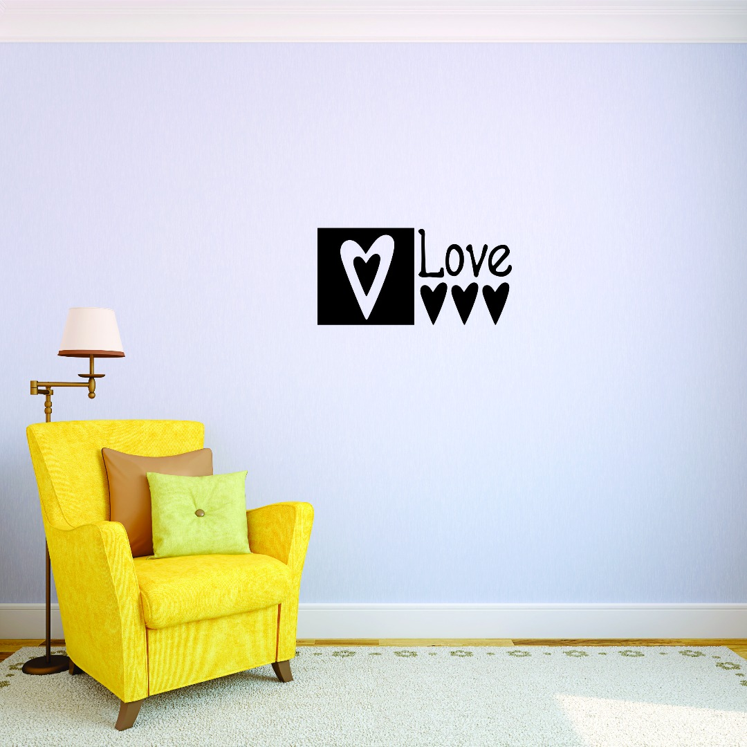 Love square Design Living Room Home Decor Art Vinyl Wall Decal - 10x20 Inches