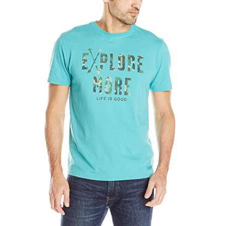 Life is good Men's Crusher Explore More Camo Tee, Teal Blue, Medium