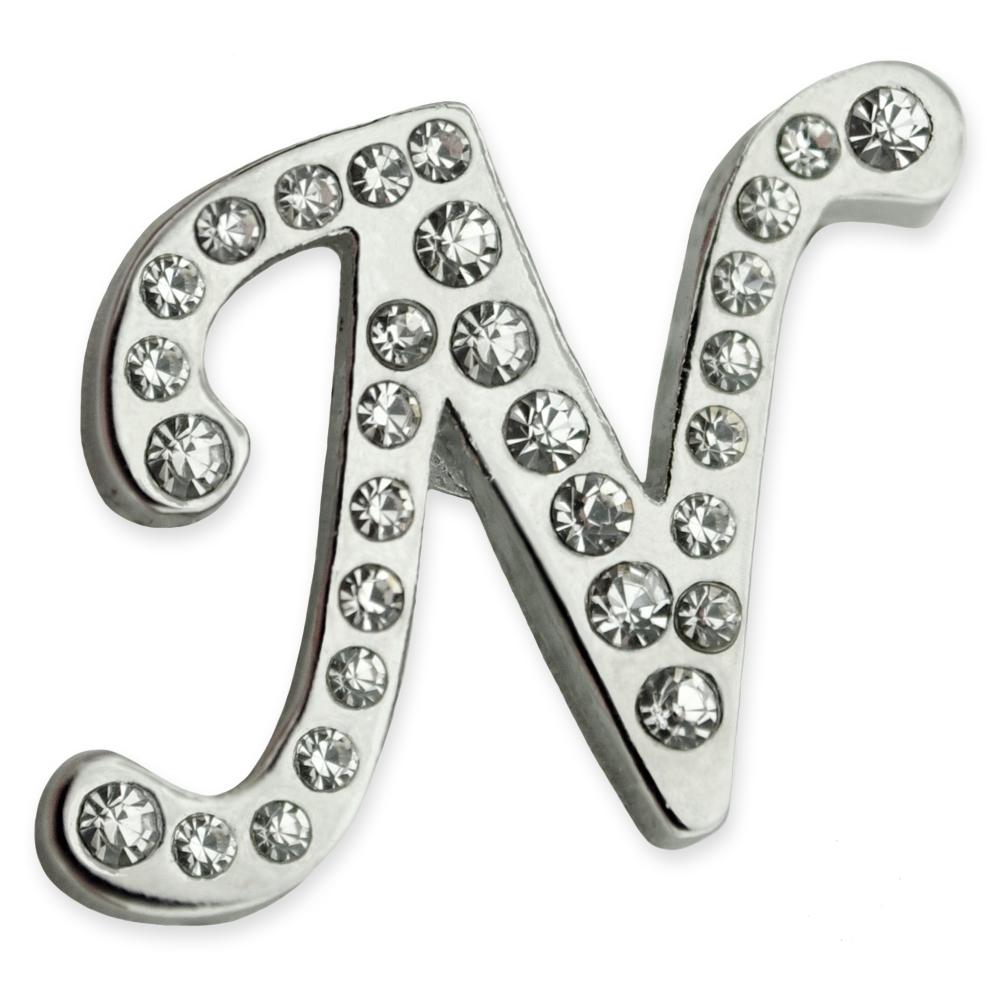 PinMart's Silver Plated Rhinestone Alphabet Letter N Lapel Pin
