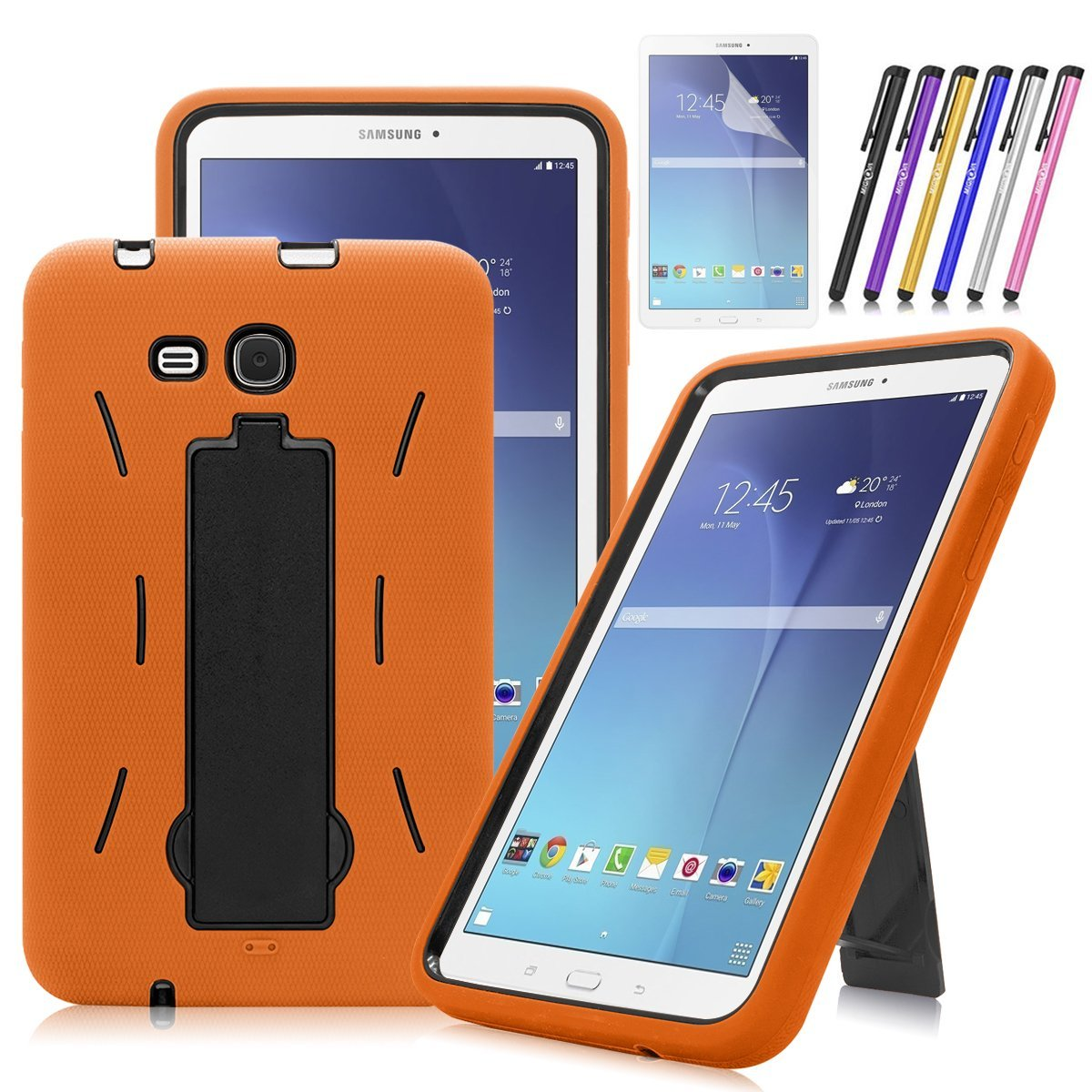 Mignova Heavy Duty Hybrid Protective Case with Kickstand Impact Resistant For Samsung Galaxy Tab E 8.0 SM-T377 + Screen Protector Film and stylus pen (Black)