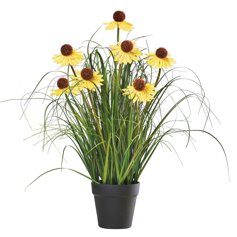 Long-Stem Daisy Coneflower Faux Plant with Planter - Spring Décor for Garden, Yard, or Porch, Yellow