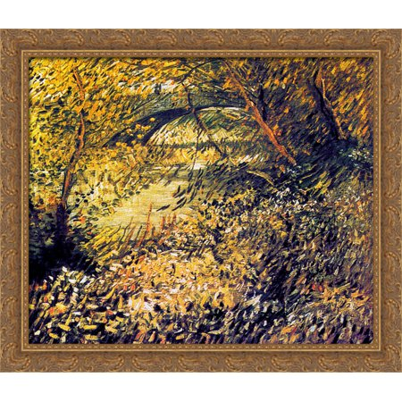 Banks Of The Seine In The Spring 34X28 Large Gold Ornate Wood Framed Canvas Art By Vincent Van Gogh