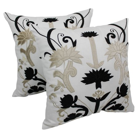 Blazing Needles 20 x 20 in. Indian Floral Elegance Velvet Applique Throw Pillows - Set of 2 ()