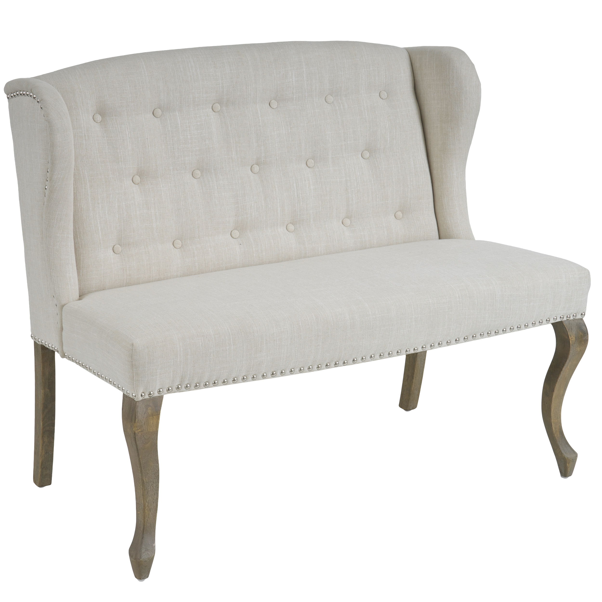 Anna Wingback Button-tufted Fabric Loveseat