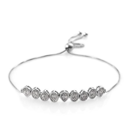 Diamond Baguette Bolo Bracelet 925 Sterling Silver Platinum Plated Gift Jewelry for Women Cttw 0.3 Adjustable ()