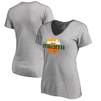 Miami Hurricanes Fanatics Branded Women's Only In Miami V-Neck T-Shirt - Heather Gray