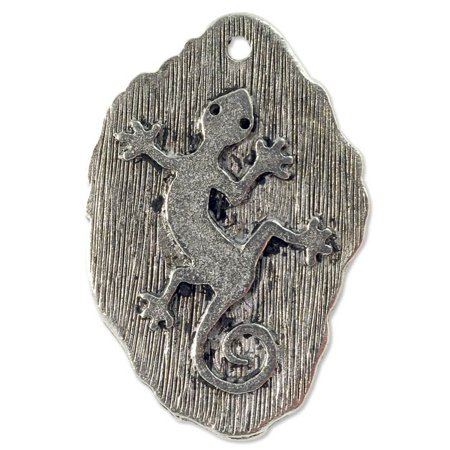 Plated Gecko - Gecko Pendant 31x20mm Pewter Antique Silver Plated